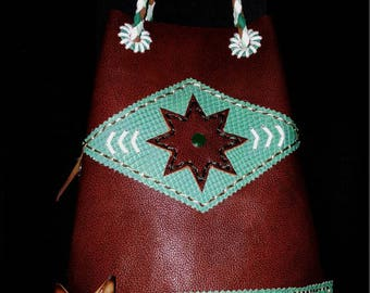 chimayo leather handmade repro vintage bag * rockabilly