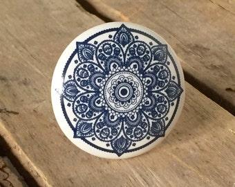 Kaleidoscope Ceramic Knob, Blue and White Ceramic knob, Mandala Pattern Ceramic Knob, Farmhouse 32