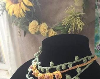 Sunflower Crochet Necklace /Choker.