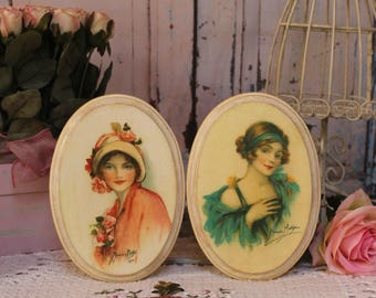 "A set of 2 ""Vintage Women..."" Shabby Chic French Country Cottage style Wall Decor Sign"