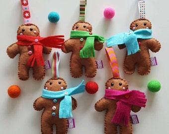 Gingerbread decoration- felt gingerbread person- christmas decor-tree decorations- festive felt