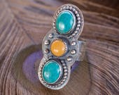 Chrysocolla and Yellow Jasper Size 9 Ring / Crimson Buffalo / Handmade Bohemian Jewelry / Triple Stone Ring / Unique Gifts for Her / Silver