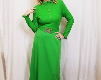 70's Lime Bright Green Maxi Dress. Long Sleeves. Polyester. Belted. Disco. Mock neck. Size Small.