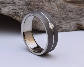 Titanium wedding band with a matt blasted finish, mens or womens titanium wedding band mens, his or hers titanium wedding ring