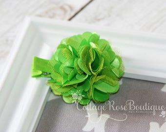 Lime Green Flower Hair Clip, Girls Hair Clip, Green Flower Clip, Hair Flower, Flower Hair Accessories, Toddler Hair Clip, Girls Hair Bow