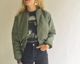 Vintage Deadstock 80s Olive Green Bomber Puffer Jacket | Crop OG Green Military Army Flight Jacket | Aviator Coat Puffer