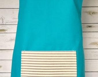 Cross Back Japanese Apron - Turquoise / Striped