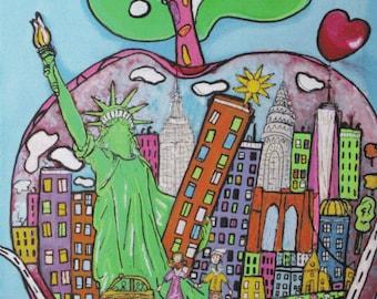 Postcard Big Apple New York Statue of Liberty liberty heart art