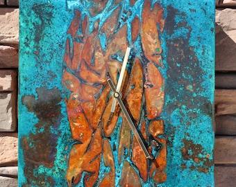 Copper Wall Clock. Wall Decor. Copper Patina. Custom Clock. Metal Art.