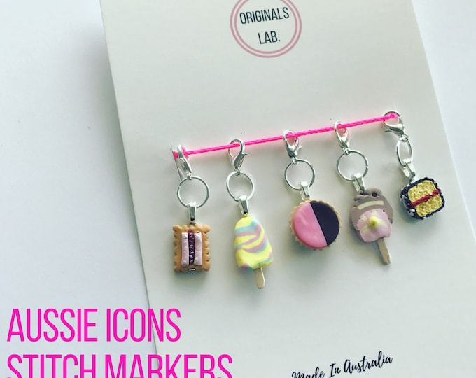 Handmade Iconic Australian stitch markers. Custom made to order
