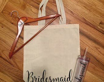 Customized Personalized Bridesmaid gift set Bridal Party Gift Tote Tumbler Hanger