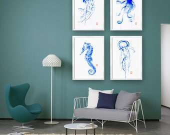 Blue Nautical Art Prints Oceanic creatures Set 4 art Prints Blue Teal Watercolor Painting Octopus Seahorse Jellyfish Sealife Wall art Decor