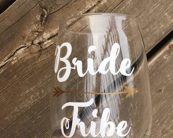 Bride tribe decal/bachelorette party favors/REUSABLE! BETTER than VINYL/glass cling/custom wine glass labels/bachelorette custom wine decals