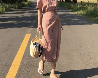 2Colors organic wrap summer dress - Wrap Linen Dress-Natural Linen Dress- Linen Kimono Dress with belt-Summer Dress-Long Linen Dress