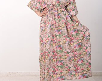 Front Button gown, cotton maternity dress, baby shower dress, kaftan maxi dress, nursing gown, breast feeding, nursing shirt, nursing dress