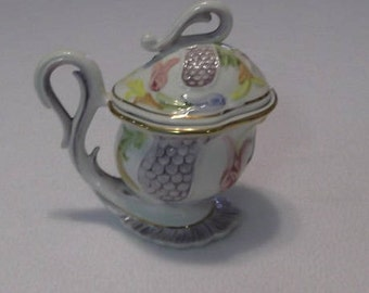 Vintage Italian Porcelain Sugar Bowl, Made in Capodimonte Style