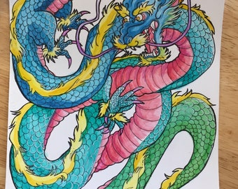 original dragon watercolor