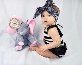 Matching Headbands- Black & White Floral; Flower Headband; Flower Headwrap; Flower Bow; Newborn Headband; Baby Headband; Infant Headband