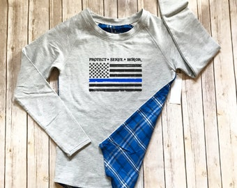 LIMITED EDITION!! Thin Blue Line Tattered Flag Blue Plaid Long Sleeve Tunic Top - Law Enforcement - Police Wife - K9 Unit - Deputy Wife