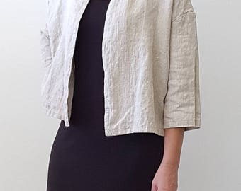 Crop Jacket in Natural Flax Linen