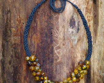 Necklace - Tubular in macramé with Mexican Amber