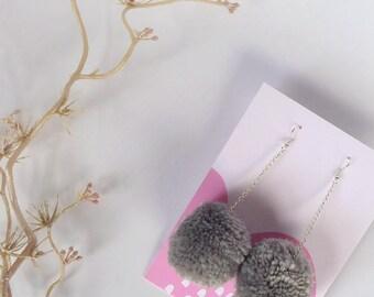 Grey Pom Pom Earrings