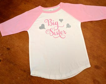 Big Sister Pink and White Baseball Shirt - Matching Sister Shirts and Matching Brother Shirts Available!