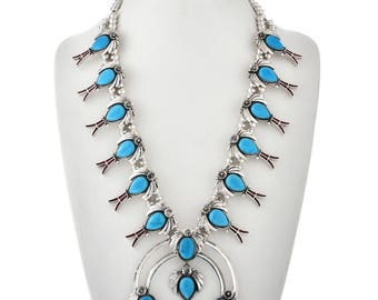 Turquoise Squash Blossom Necklace With Coral Inlay