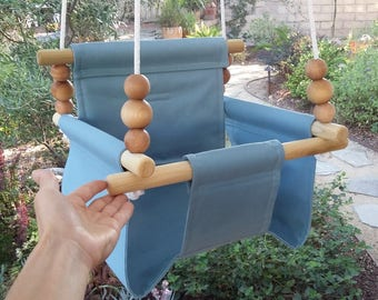 High Back Baby Swing in Sky Blue, Toddler Swing, Nursery Swing, Porch Swing, Indoor Swing, Outdoor Swing, Canvas Swing, One Year Old