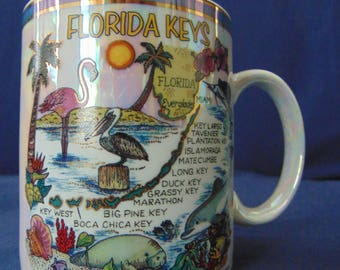 Florida Keys Mug. Iridescent Florida Keys Mug, Florida Mug,