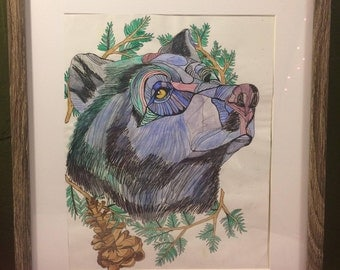 Blue Bear - Watercolor and Ink