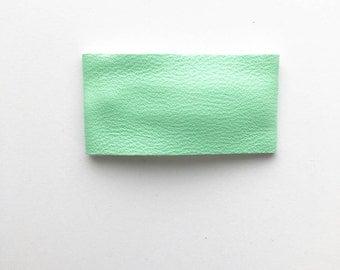 Green faux leather snapclip/ faux leather snapclip/ green snapclip