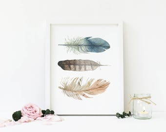 Bohemian Feathers, Watercolor Printable, Boho Printable, Digital Print, Wall Art, Home Decor, Nursery Decor, Download