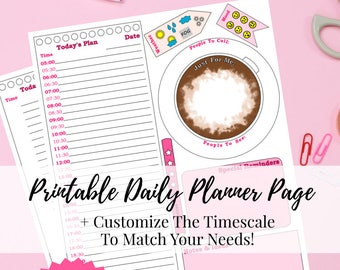 Printable Daily Planner Page - Coffee Daily Planner Page - Editable Hours!