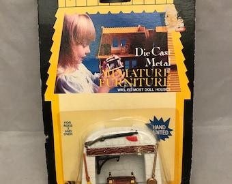1981 Durham Industries Die Cast Metal Miniature Hand Painted Dollhouse Furniture - Fireplace - In Original Package