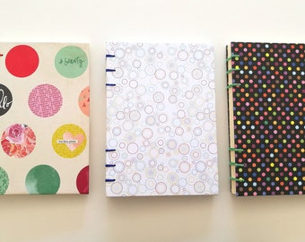 Handmade Hardcover Book - Colored Dots pattern paper