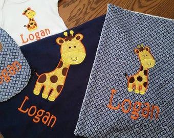 Giraffe Onesie, Blanket, Burp and/or Bib