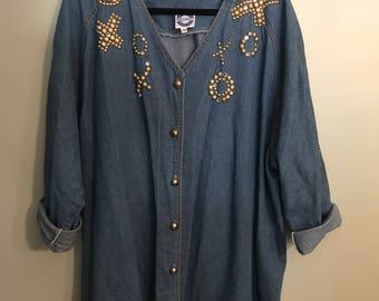 Oversized Button Up Denim Shirt Dress