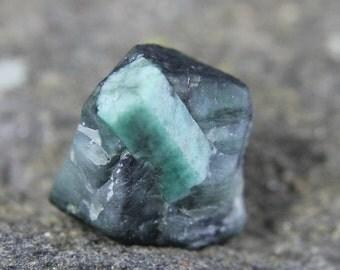 Raw Emerald Specimen in Matrix, Brazilian Emerald Crystal in Host Stone, Natural Gemstone Display Piece