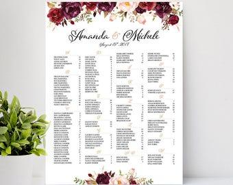 Marsala, Burgundy, Wedding Seating Chart, Burgundy Floral Wedding Seating Chart, wedding seating chart alphabetical - US_WC0601