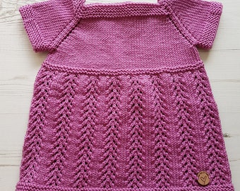 Baby Pinafore Dress, Knitted Baby Dress, Hand Knit Dress, Woollen Dress, Baby Girl, Baby Shower Gift, Baby Gift, Kids Clothes, Girls Outfit