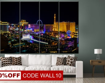 Las Vegas canvas, Night city canvas, Las Vegas, Las Vegas print, Las Vegas wall art, Night Las Vegas, Home decor, Large canvas, Canvas print