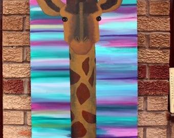 Giraffe Painting, Acrylic on Box Canvas 100cm x 50cm, Abstract Wall Art