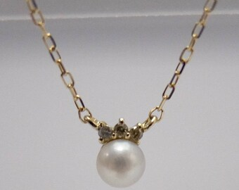 10K Yellow Gold Baby Pearl Necklace