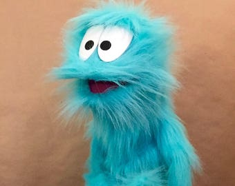 Furry Blue Monster Hand and Rod Puppet