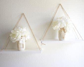 Hanging Shelf - Rustic Wood Shelf - Floating Shelf - Swing Shelf - Rope Shelf - Hanging Shelves