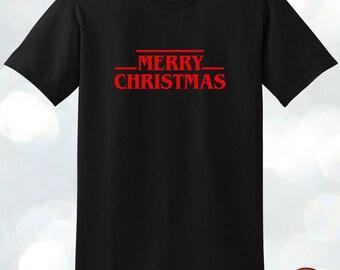 Merry Christmas inspired Stranger Things logo T-shirt