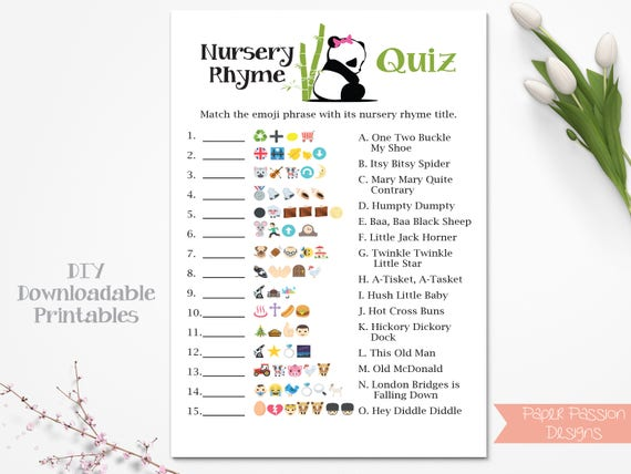 Emoji Nursery Rhyme Quiz Panda Bear Baby Shower Game Pink