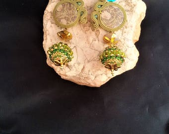 soutache earrings green, soutache, soutache jewelry, soutache jewels, handmade earrings, soutache embroidery, artigianal earrings