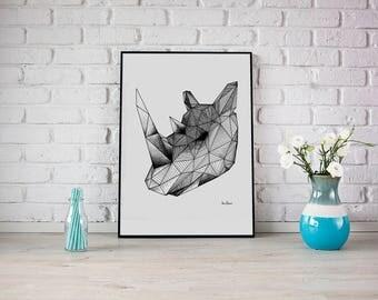 GEOMETRIC RHINO PRINT - Wall art illustration print. Geometric animal illustration. Decoration wall art. Hand drawing rhino